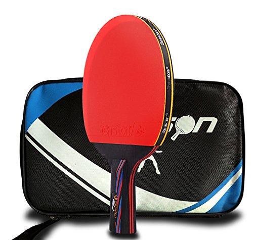 Senston Tischtennisschläger, Ping-Pong-Paddle, Tischtennisschläger, Handgriff, inkl. Tragetasche
