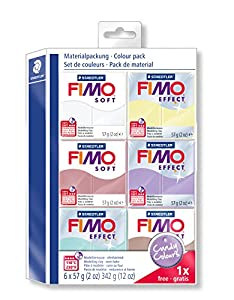 Staedtler 8023-25. Pasta para modelar FIMO Soft. 6 pastillas de colores 57 gramos. Pack Colores Caramelo.