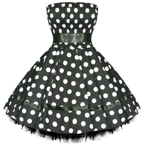 Hearts And Roses London A Pois Vintage 50s Retro Swing Vestito Da Sera, Da Ballo Qualità Eccellente - cotone, nero con bianco A Pois, 3% elastene 97% cotone, Donna, 12 M