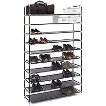 Relaxdays – Zapatero VALENTIN hecho de estructuras de acero y cubierta de tela con medidas 175,5 x 100 x 29 cm hasta 10 pisos hasta 50 pares de zapatos, color negro