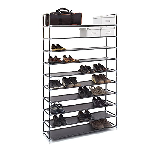 Relaxdays Schuhregal XXL H x B x T: ca. 175,5 x 100 x 29 cm Schuhablage für 50 Paar Schuhe Schuhschrank mit 10 Ebenen...