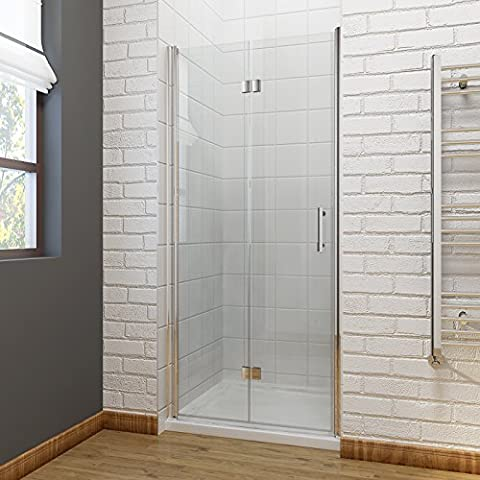 1500 x 900 mm Bifold Shower Enclosure 6mm Glass Shower Door Reversible Folding Cubicle Door with Shower