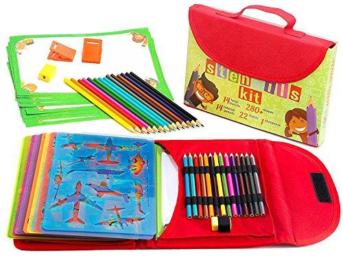 Kit de Plantillas de Dibujo para Niños 54-Piezas| Divertido Conjunto de Actividades de Viaje, Estuche Organizador con más de 280 Figuras, Artesanía para Niñas y Niños, Juguete Creativo y Educacional para Edades de 3 hasta Adolescentes | Excelente Regalo para Niños