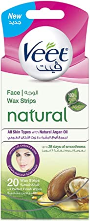 Veet Hair Removal Natural Legs Cold Wax Strips Natural Argan Oil 20 Count