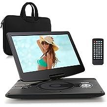 """Pumpkin 12"""" HD Reproductor de DVD CD MP3 Vídeo Mutimedia Portátil (4000mAh Batería Interna, USB, SD) Con Cargador de Coche y Bolsa de Mano, Negro"""