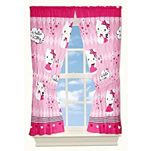 Hello kitty fertig gardine kinderzimmer gardinenschals vorh nge 2 st ck mit raffhalter Gardinenschals kinderzimmer