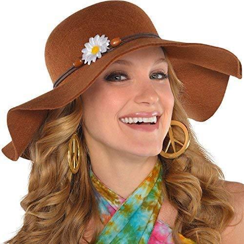 Fancy Me Groß Damen Braun Schlapper Breitkrempiges Kostüm Hut Hippie 60s Jahre 1960s Jahre Sechziger Karneval - Hippie Kostüm Für Jugendliche