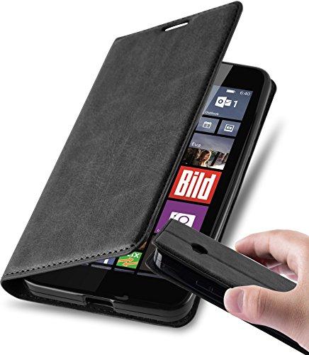 Cadorabo Hülle für Nokia Lumia 640 - Hülle in Nacht SCHWARZ - Handyhülle mit Magnetverschluss, Standfunktion & Kartenfach - Case Cover Schutzhülle Etui Tasche Book Klapp Style