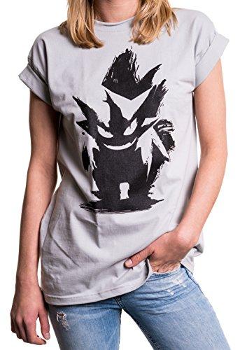 Nerd Geschenke für Gamer - Poke Damen T-Shirt Oversize Longshirt Übergröße weit locker geschnitten grau XXL (Nerds T-shirt Mädchen)