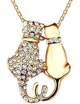 Yparah Damen-Halskette mit Katzen-Anhänger, Swarovski-Kristalle, Gold