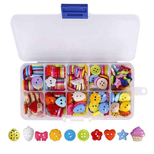 QH-Shop Knöpfe Harz Tasten Candy Farben Kleine Knöpfe mit Kunststoff Box für Nähen Handwerk Scrapbooking und DIY Handgefertigte Verzierung 235 Stück (Candy Farbe)