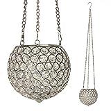 VINCIGANT Kristall Globus hängend Votiv-Kerzenhalter Hochzeit Tischdekoration Silber Dekorative hängende Teelicht Kerzehalter