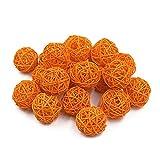 Jia Hu, 20 x dekorative Rattan-Bälle für Hochzeiten, Party, Weihnachten, zum Aufhängen, 3 cm Orange