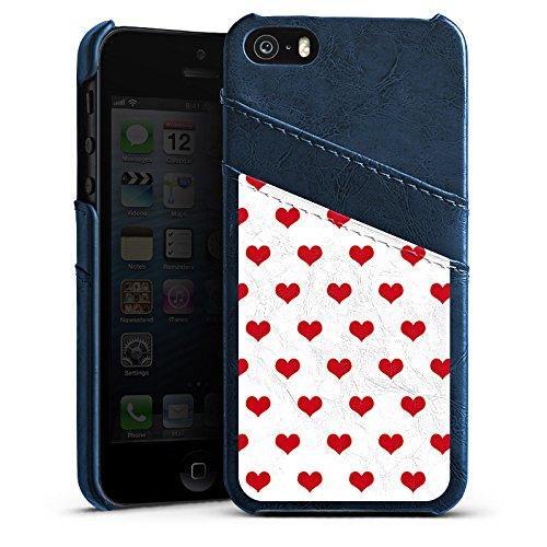 Apple iPhone 5s Housse Étui Protection Coque Polka c½urs Petit c½ur Fête de la bière Étui en cuir bleu marine