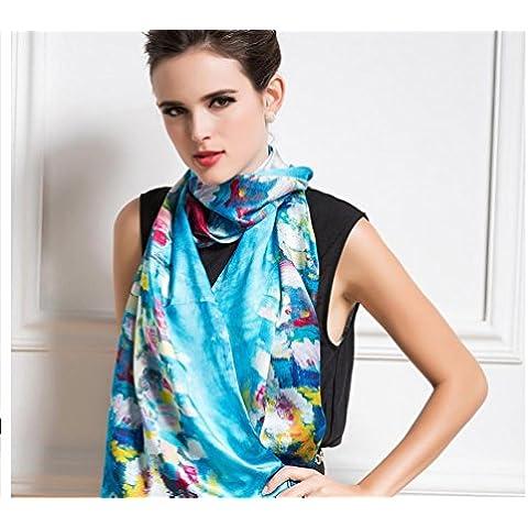 ZZHH Baco da seta seta sciarpe donna autunno/inverno lungo tela digitale stampa sciarpa decorativo . a