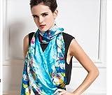 XYLUCKY Seidenraupe Seidentücher Frauen Herbst/Winter Lange Leinwand digital Druck dekorativen Schal, a