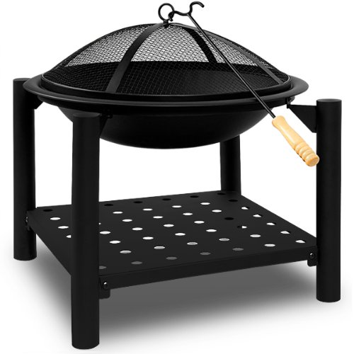Fire Pit Bowl Basket Stainless Steel Outdoor Garden Brazier Patio Heater Charcoal 55x50centimeter Practical Cover Poker and Wood Storage Tray