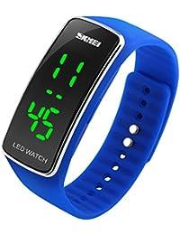 SKMEI Bracelet en silicone Montre Digital Sport Montres avec LED (Blue)
