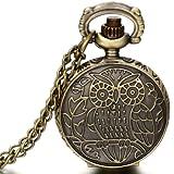 JewelryWe Damen Herren Taschenuhr Eule Blumen Uhranhänger Quartz Legierung Kettenuhr Uhr Halskette Farbe Bronz