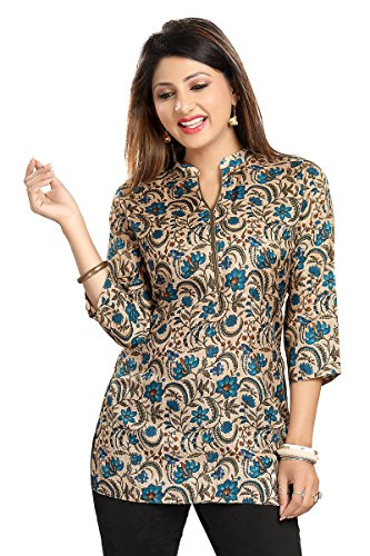 Color Petal Printed Silk Short Kurti / Tunic / Top for women and girls for diwali festival