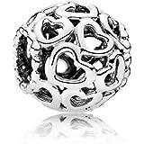 Open Your Heart Charm de plata de ley 925 colgantes Pandora, pulseras europeos compatible
