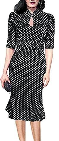 SunIfSnow - Robe spécial grossesse - Moulante - À Pois - Col Boutonné - Manches Courtes - Femme - noir - Medium