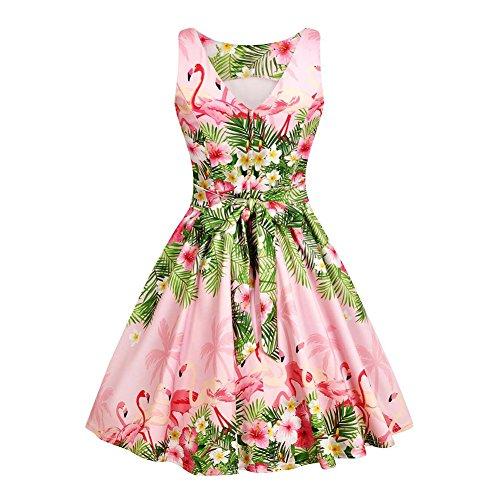 iShine Rockabilly Kleid Damen VAusschnitt Ärmellos 1950er Vintage ...