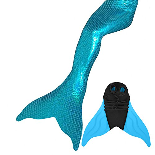 Meerjungfrauenschwanz zum Schwimmen mit Meerjungfrau Flosse Schwimmen Kostüm (Hellblau, Kinder 10)