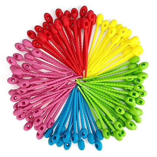 100 pezzi riutilizzabile fascetta serracavi colorate fascette stringicavo fermacavo cinghie per cavi gestione del cavo, 11cm
