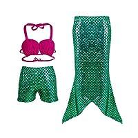 3 Pcs Set Girls Mermaid Swimsuit Costumes Mermaids Tail Cosplay Kids Children Swimmable Tankinis suit (Green, 120)