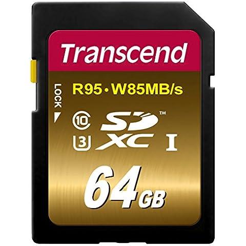 Transcend TS64GSDU3X - Tarjeta de memoria SDXC de 64 GB (clase 10, 85 MB/s), color negro