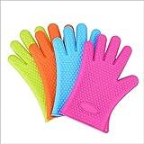 MADICN Hitzebeständige Silikon Ofenhandschuhe(2 Paire),Hitzebeständige Handschuhe in Lebensmittelqualität Küche, Die Gebackenen Grill Gebratenen Grill Kocht Zufällige Farben