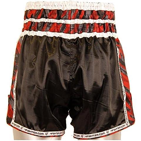 4Fighter Gun's & Skull Muay Thai Shorts / pantaloni kickbox nero con pagine camo, Taille:M - Muay Thai Kickbox Shorts