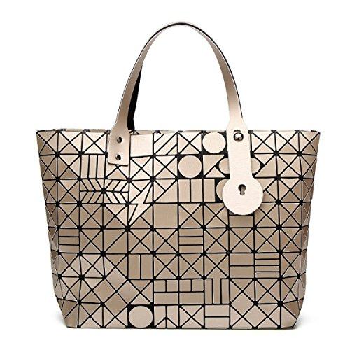FZHLY Fashion Trend Signore Pacchetto Laser Geometrica Ling Griglia Singola Spalla Bag,Black Light-gold