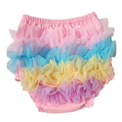DELEY Bébés filles dentelle solide Pettiskirt Ruffle Bloomers Slips Culottes Covers Nappy Couches