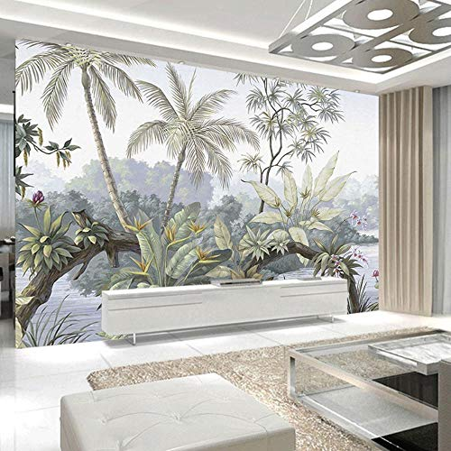 NXMRN Personnalisé 3D Photo Murale Papier Peint Aquarelle Plantes par Lac Tropical Papier Peint Pour Salon Chambre Intérieur De La Maison,20x20cm