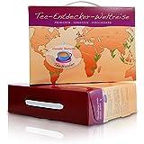 """Tee-Geschenkbox """"Tee-Entdecker-Weltreise"""" originelle Geschenkidee mit 9 Teesorten (Rooibos, Grüner Tee, Schwarzer Tee, Mate Tee, Jasmintee, Kräuter und Früchtetee) mit Papier-Teefilter im Geschenkset"""