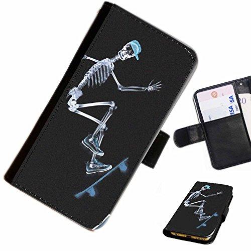 Hairyworm- Rollbrett Apple Iphone 3G, 3Gs Leder Klapphülle Etui Handy Tasche, Deckel mit Kartenfächern, Geldscheinfach und Magnetverschluss. Iphone 3g-skeleton