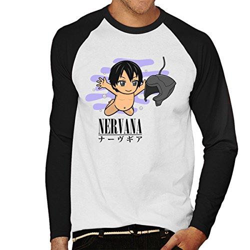 Nervana Nerve Mind Sword Art Online Nirvana Men's Baseball Long Sleeved T-Shirt White/Black