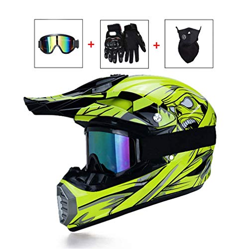 LEENP Adulti Casco di Motocross, Monster Moto Casco da Cross Set con Occhiali Maschera Guanti, Moto off-Road Sports Racing Enduro Downhill Casco ATV MTB BMX Quad Casco da Motociclista,Yellow,L