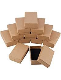 NBEADS 24 Pcs Small Kraft Brown Cardboard Boxes Jewelry Box with Lids for Necklace Ring Gifts Display,3.15x1.97x1.2Inch