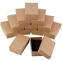 NBEADS 24 Piezas Caja de Joyas de Cajas de Cartón de Rectángulo de Kraft Marrón para