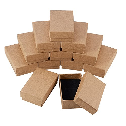 NBEADS 24 Pcs Small Kraft Brown Cardboard Boxes Jewelry Box with Lids for Necklace Ring Gifts Display, 8x5x3cm