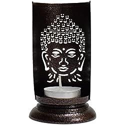 Tradicional té luz Portavelas/portavelas de metal vela soporte conjunto/funda soporte/Soportes para vela decorativa de mesa, portavelas con forma de Buda (luz para hogar sala de estar