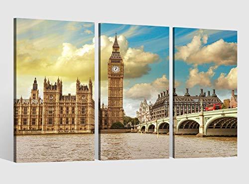 Leinwandbild 3 tlg London Skyline Bruecke Stadt Westminster Bridge Bild Bilder Leinwand Leinwandbilder Holz Wandbild mehrteilig Kunstdruck fertig gerahmt 9AB479, 3 tlg BxH:120x80cm (3Stk 40x 80cm)