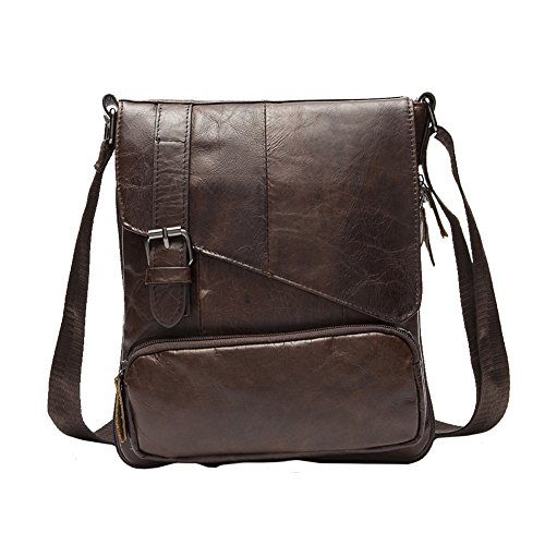 HanWay Cuoio Autentico Borsa a Tracolla Cross Body Borsa Nero Marrone