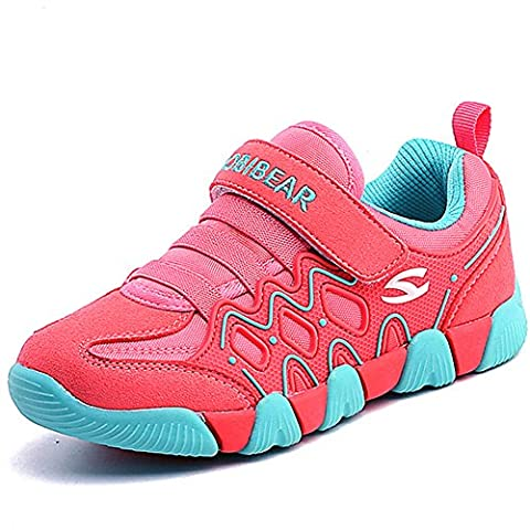 Enfant Chaussures de Sport Course Baskets Basses Sneakers Casual Outdoor Running Tennis Chaussure de Walking Shoes pour Garçon Fille, rose 34