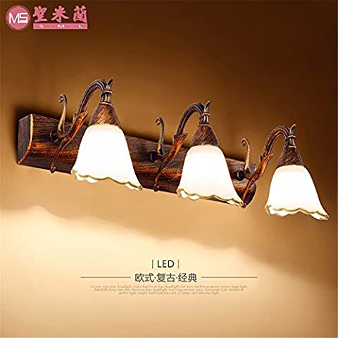 SADASD Mirror Lamp LED continental before mirror lamp moisture toilet mirror container Light rust inhibitor retro dressing table lamps antique 3 before the mirror head lights