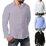 Hemd Herren Slim Fit | Sannysis Männer Freizeithemd Longsleeve Basic Shirt Lässige Rollkragen Langarmshirt Bluse Top Mit Rundhalskragen