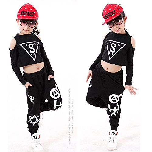 Kinder Ballsaal Jazz Hip Hop Dancewear Outfit Mädchen Schwarz Party Dance Kostüme (Jazz Tanz Kostüme Für Mädchen)